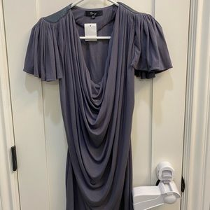 Sky Gunmetal Tunic With Leather Detail, XS